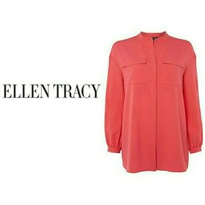 New ELLEN TRACY Pink long sleeve top Size M